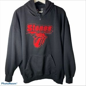 Rolling Stones logo lips tongue hoodie black XL